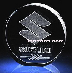 round crystal plaque with 3d laser etching