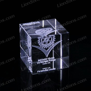 3D Laser crystal cube paperweight with a logo engraved inside.