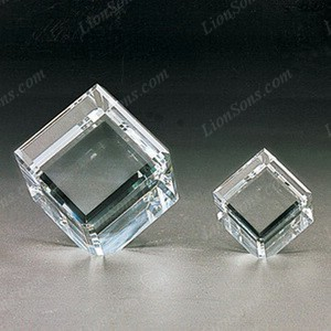 thick edged k9 crystal cube with beveled corner standing